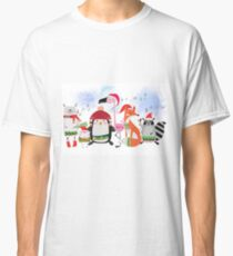 Silly Cartoon Animals Christmas Holiday Classic T-Shirt