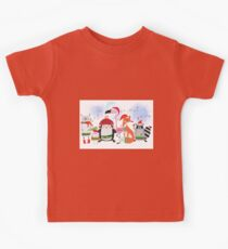 Silly Cartoon Animals Christmas Holiday Kids Tee