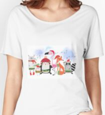 Silly Cartoon Animals Christmas Holiday Women's Relaxed Fit T-Shirt