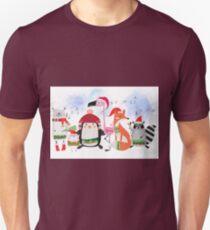 Silly Cartoon Animals Christmas Holiday T-Shirt