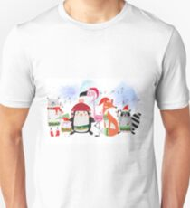 Silly Cartoon Animals Christmas Holiday T-Shirt