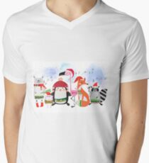 Silly Cartoon Animals Christmas Holiday Men's V-Neck T-Shirt