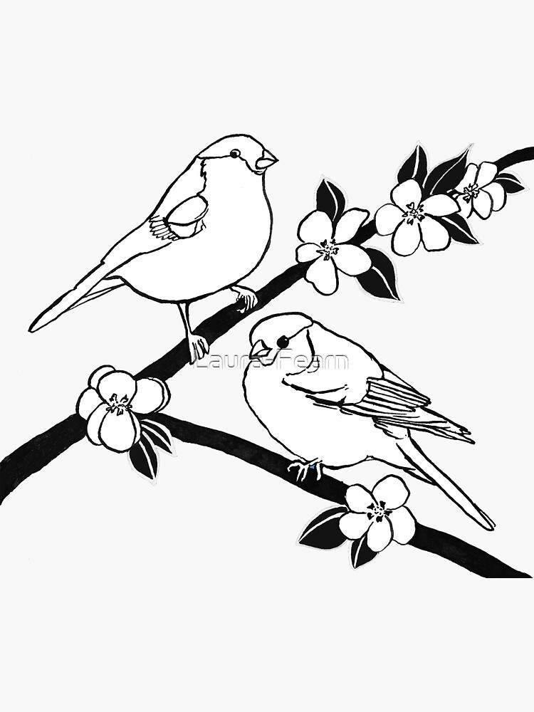 Bullfinches on Blossom by Laura-Fearn