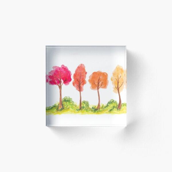 Watercolor Fall Trees Acrylic Block