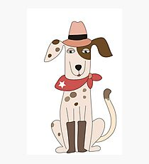 Funny Cartoon Pets Cowboy Dog Photographic Print