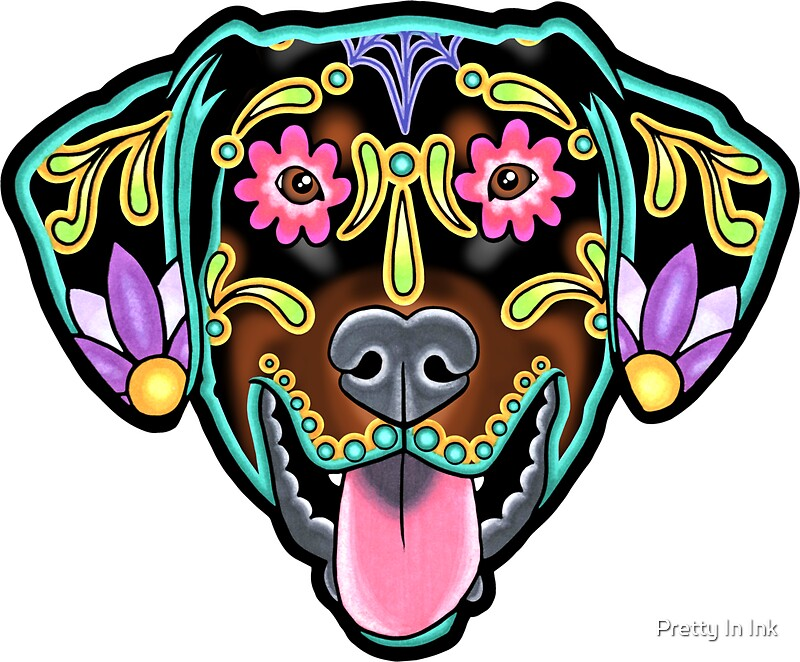 Doberman floppy ear edition day of the dead sugar skull dog by prettyinink