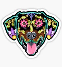 Doberman - Floppy Ear Edition - Day of the Dead Sugar Skull Dog Sticker