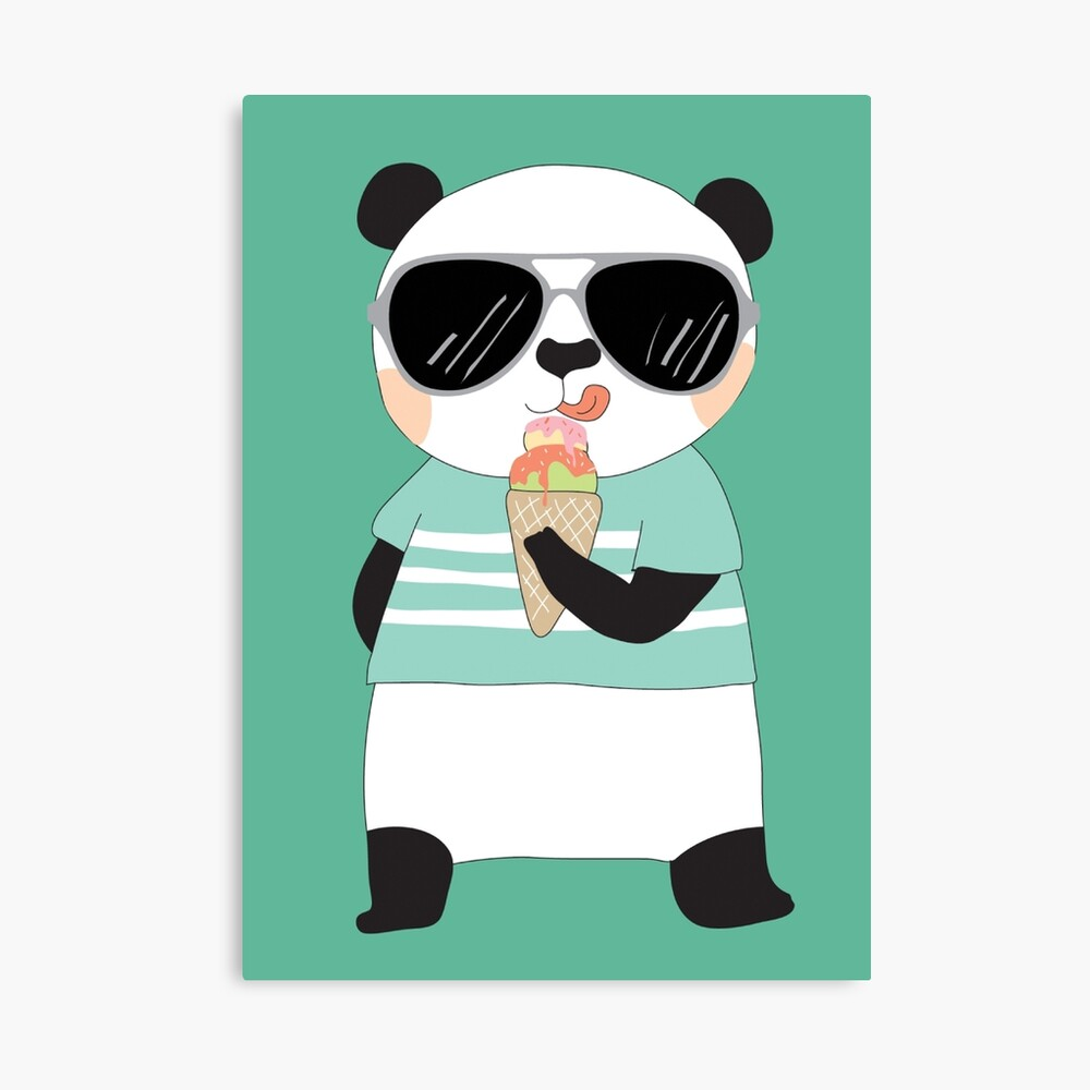 Cute Cartoon Animals Panda Bear Photographic Print By Peacockcards Redbubble