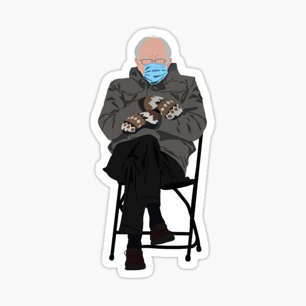 bernie at inauguration Sticker