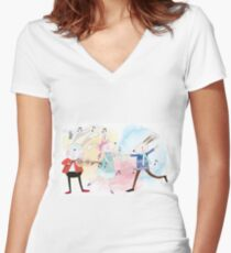 Cute Watercolor Animals Rabbits Sing and Dance Women's Fitted V-Neck T-Shirt
