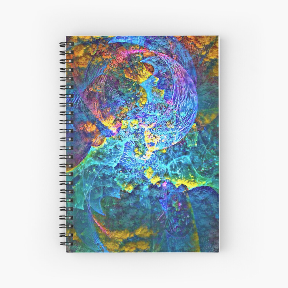 Deepdream marine floral fractalize space abstraction Spiral Notebook