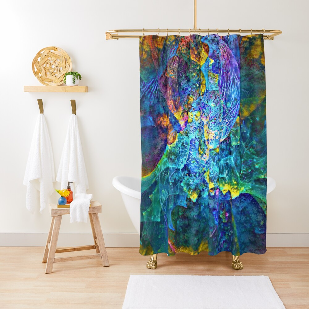 Deepdream marine floral fractalize space abstraction Shower Curtain