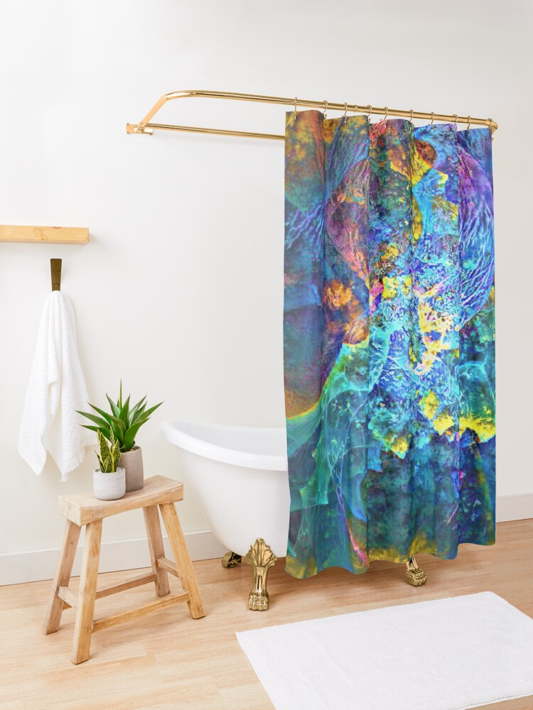 Alternate view of Deepdream marine floral fractalize space abstraction Shower Curtain