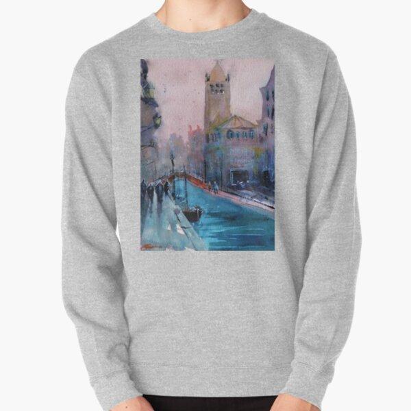 Venice - Boats and Buildings (Campo San Barnaba) in Watercolor Pullover Sweatshirt
