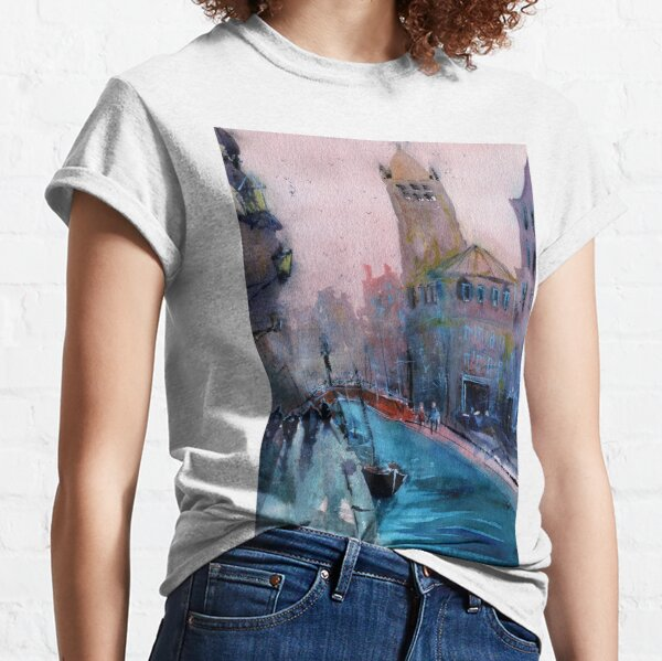 Venice - Boats and Buildings (Campo San Barnaba) in Watercolor Classic T-Shirt