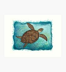 Hawksbill Sea Turtle ~ watercolor painting by Amber Marine Art Print