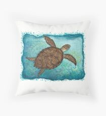 Hawksbill Sea Turtle ~ watercolor painting by Amber Marine Throw Pillow