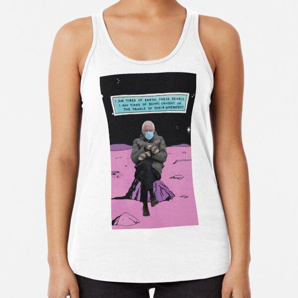 Bernie Sanders mittens inauguration 2021 biden funny meme space mood tired Dr Bernie Manhattan Racerback Tank Top