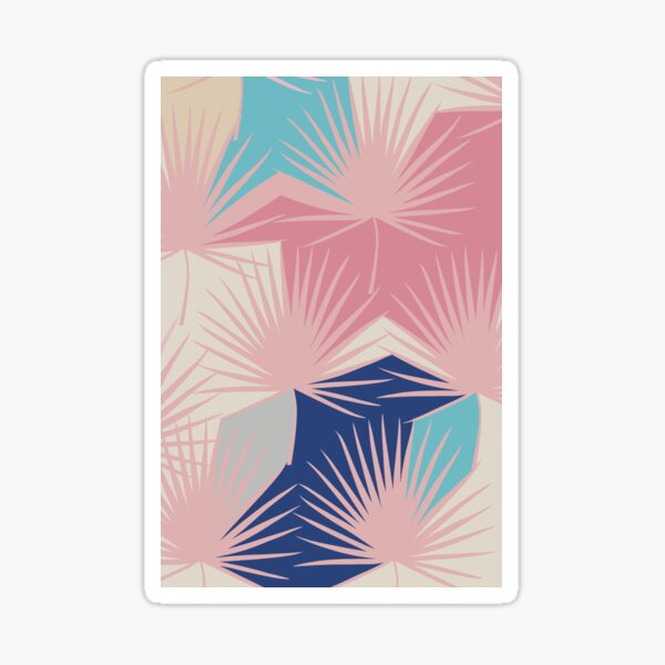 Block colour abstract leaves - Miami Jewel Sticker