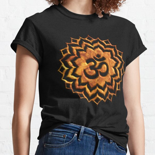 Om Lotus flower on Wood background Classic T-Shirt