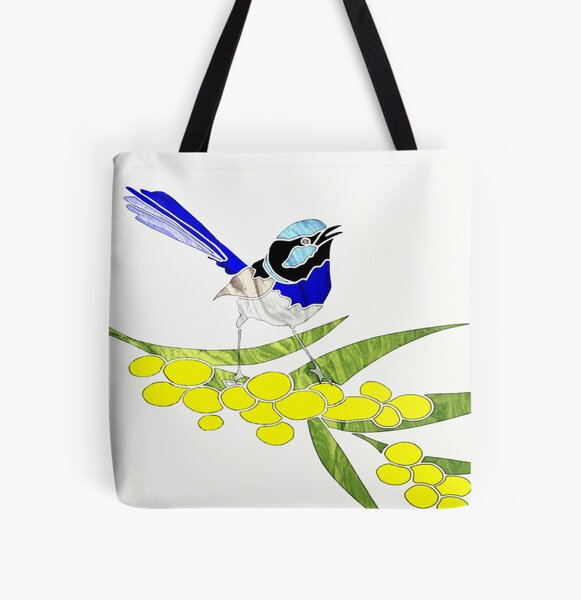 Blue Wren with Golden Wattle All Over Print Tote Bag