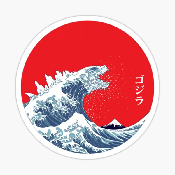 Art 90s Hokusai Kaiju Sticker
