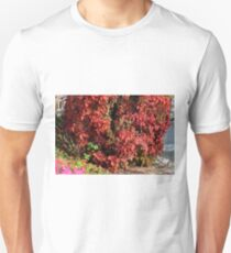 Beautiful colorful bush with red leaves. Unisex T-Shirt