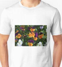 Colorful orange and purple flowers background. Unisex T-Shirt