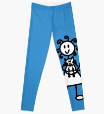 The Girl with the Curly Hair Holding Cat - Blue Leggings