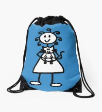 The Girl with the Curly Hair Holding Cat - Blue Drawstring Bag