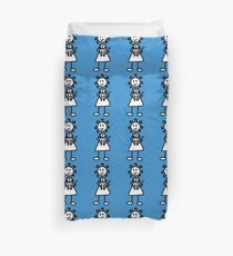 The Girl with the Curly Hair Holding Cat - Blue Duvet Cover