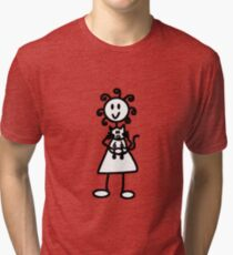 The Girl with the Curly Hair Holding Cat - Dark Grey Tri-blend T-Shirt