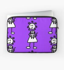 The Girl with the Curly Hair Holding Cat - Light Purple Laptop Sleeve