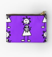 The Girl with the Curly Hair Holding Cat - Light Purple Studio Pouch