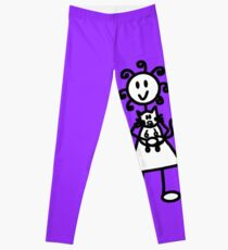 The Girl with the Curly Hair Holding Cat - Light Purple Leggings
