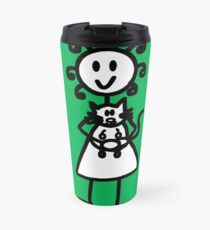 The Girl with the Curly Hair Holding Cat - Green Travel Mug