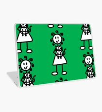 The Girl with the Curly Hair Holding Cat - Green Laptop Skin