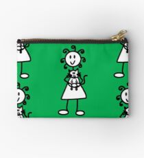 The Girl with the Curly Hair Holding Cat - Green Studio Pouch