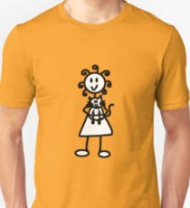 The Girl with the Curly Hair Holding Cat - Yellow Unisex T-Shirt