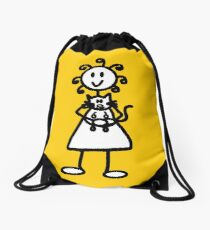 The Girl with the Curly Hair Holding Cat - Yellow Drawstring Bag