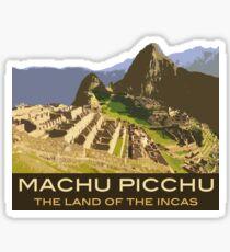 Machu Picchu Commemorative Souvenir Design, in Vintage Travel Poster Style Sticker
