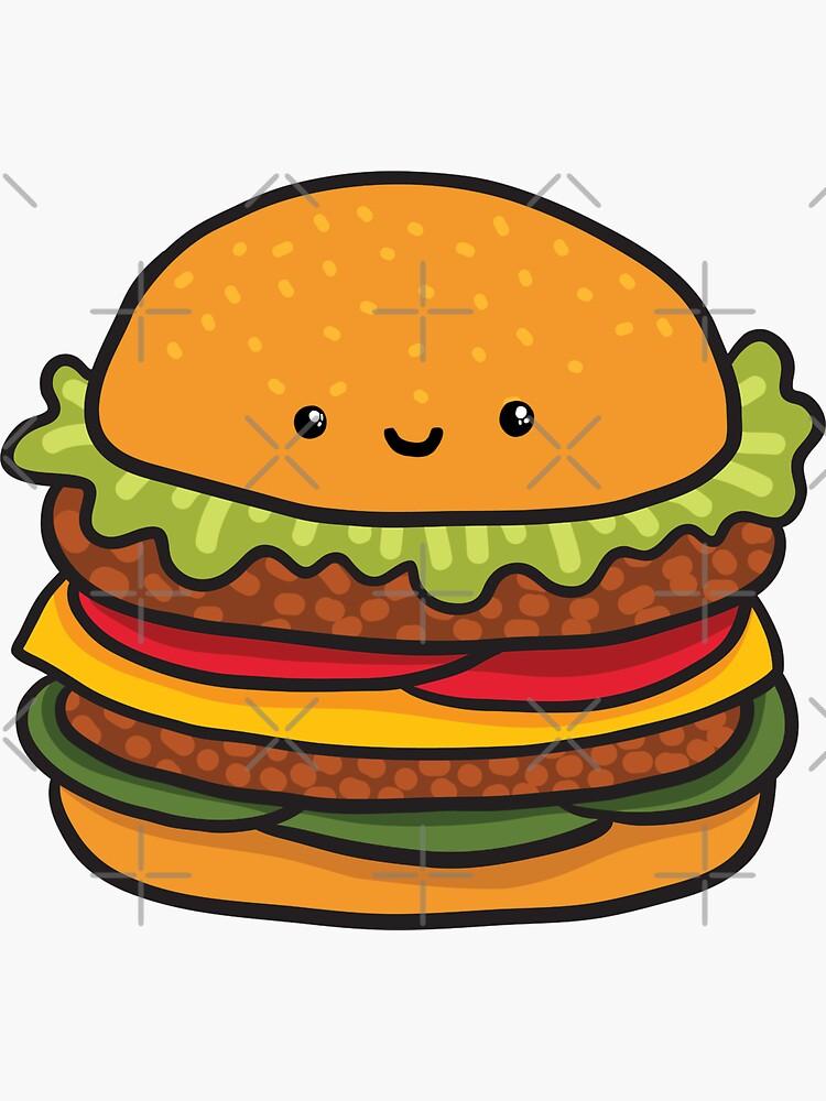 Cute burger. Hamburger fast food. by kostolom3000