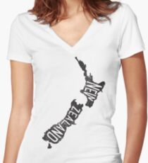 NEW ZEALAND Women's Fitted V-Neck T-Shirt