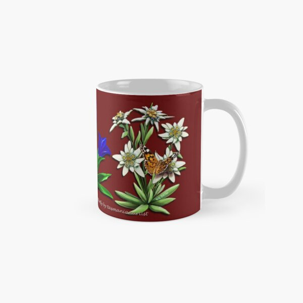FLORAL ~ FOLKART ~ Alpenrose Enzian and Edelweiss with Butterfly for Zipped Hoodies by tasmanianartist 05012021 Classic Mug