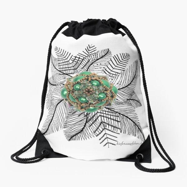 Farn mit Kieferzäpfchen aus Eden grünem und luminous grünem Swarovski Kristallglas Turnbeutel