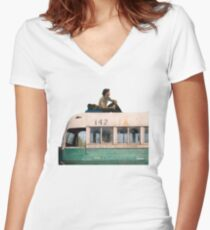 """""""Happiness is only real when shared"""" Women's Fitted V-Neck T-Shirt"""