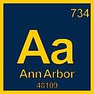 Ann Arbor Michigan Periodic Table Zip Code Area Code by MyHandmadeSigns