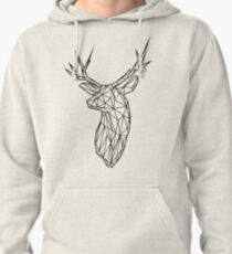 Black Wire Faceted Stag Trophy Head Pullover Hoodie