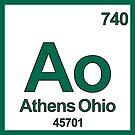 Athens Ohio Periodic Table Zip Code University Area Code by MyHandmadeSigns