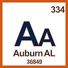 Auburn Alabama Periodic Table Zip Code University Area Code by MyHandmadeSigns